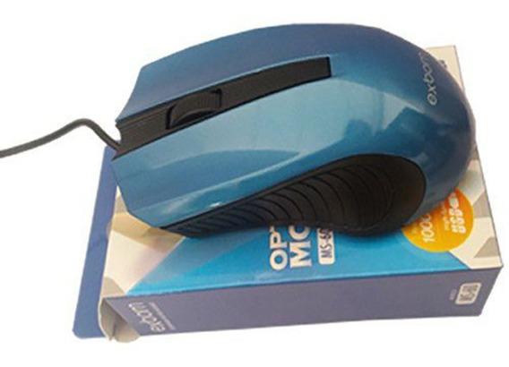 Mouse Gamer Usb Color 3d Ms60 Exbom Com Brilho Azul