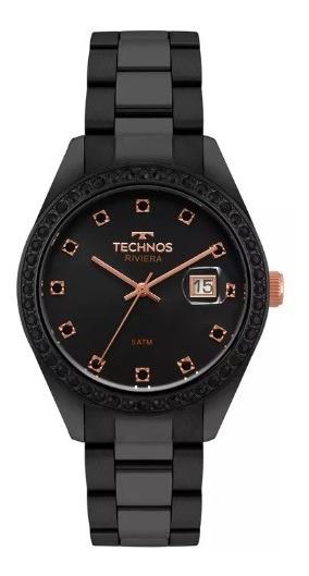 Imperdível Relógio Technos Feminino Riviera Preto 2115moj/4p