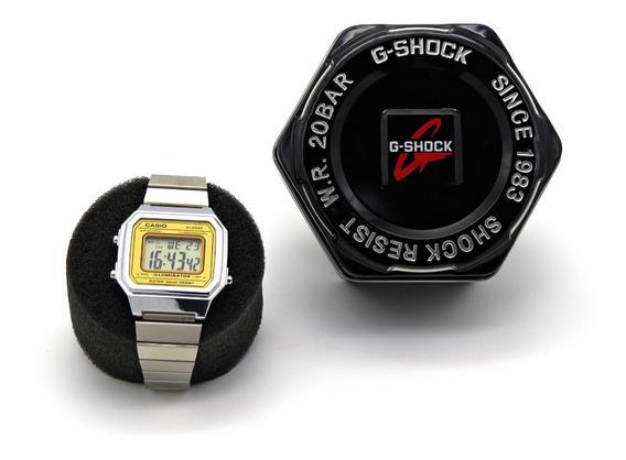 Relógio Digital Vintage - B650w- V-w6666 Prata/dourado