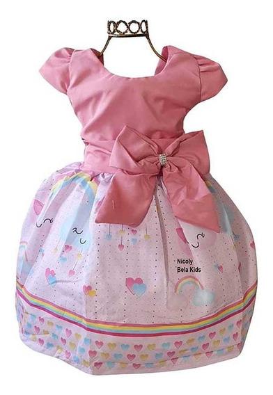 Vestido Chuva De Amor Rosa Luxinho 3 Tamanho 1 Ao 12