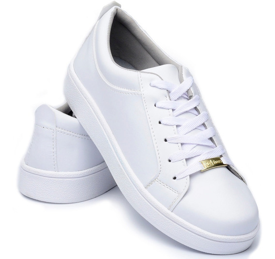 Tenis Sapatenis Femenino Branco Cr Shoes Estilo Vizzano