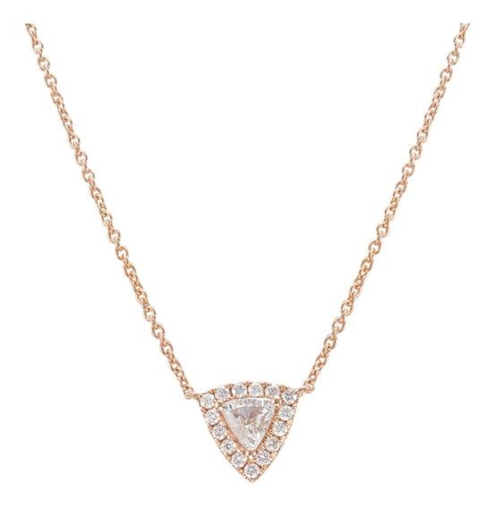 Colgante Solitario Oro Rosa 18k Diamantes Triangular