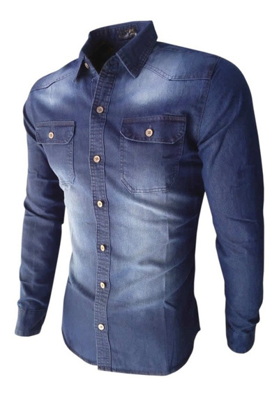 Camisa Jeans Masculina Slim Manga Longa - Alta Qualidade