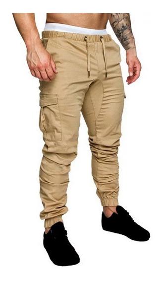 Pantalones Cargo Gabardina Bolsillos Cintura Elastico Jogger
