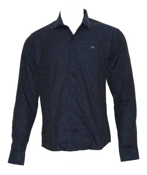Camisa Ogochi Masculina Social Marinho Com Flores 001418502