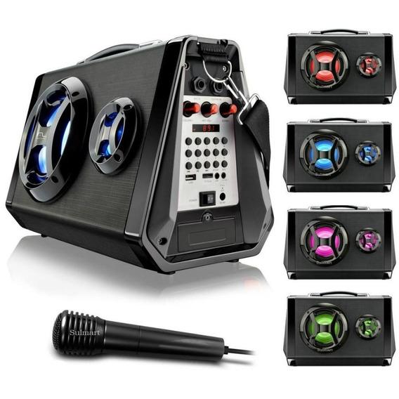 Caixa De Som Amplificada Bluetooth Microfone Usb Multilaser