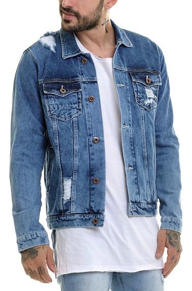 Jaqueta Premium Masculina Casaco Slim Jeans Destroyed Offert