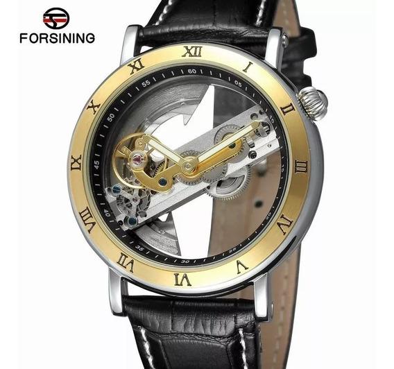 Relógio Automático Luxo Forsining Esqueleto + Caixa