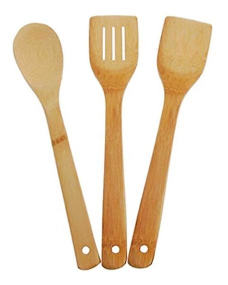 Juego Espátulas Madera Bamboo Utensilios Cocina X3 Piezas