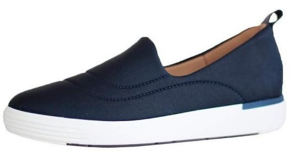 Tenis Feminino Em Tecido Lycra Azul Usaflex Solado Confort 5106