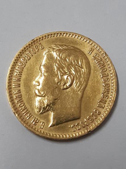 Moeda De 5 Rublos Em Ouro. Russia 1904