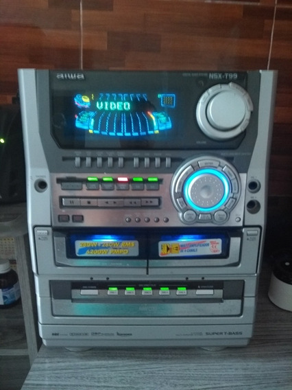 Mini Sistem Aiwa T99 Muito Conservado.