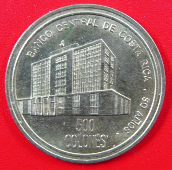 Costa Rica Moneda Laton 500 Colones 2000 Unc 50 Aniv Banco