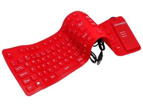 Teclado Usb Silicone Flexível Vermelho
