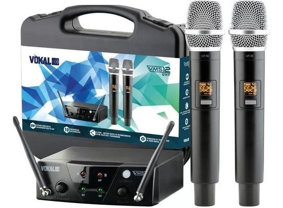 Microfone Vokal Vms12 Duplo Sem Fio Tipo Vokal Vlr502 Vla42