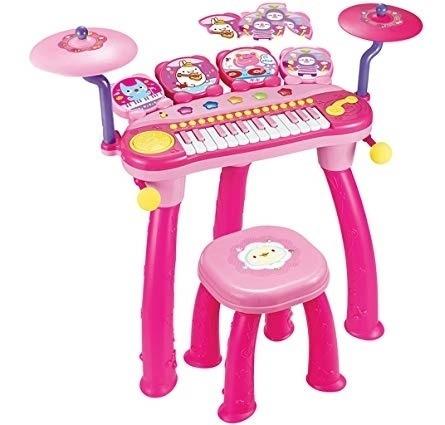 Teclado E Piano Dj Com Bateria Infantil Eletronica Luz Rosa