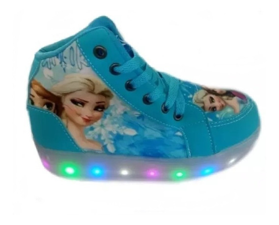 Bota Luz Led Frozen Infantil Disney Feminina Sapato