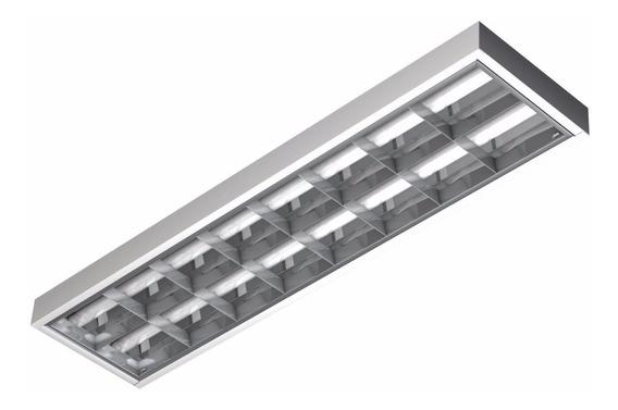 Kit 12 Luminária Calha Comercial Aletada Para T8 Led G13 Ecp