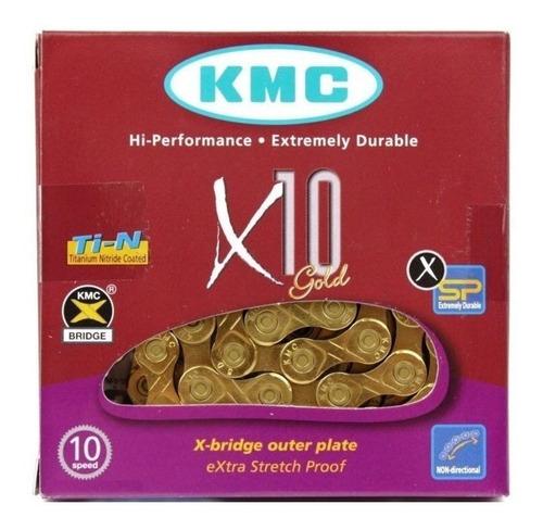 Imagem 1 de 3 de Corrente Kmc X10 Ti-n Gold Dourado 116l 10v Shimano Sram Mtb