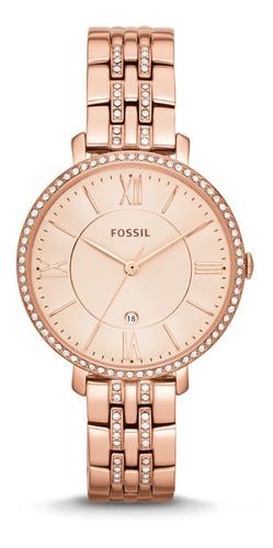 Reloj Dama Fossil Es3546 Color Oro Rosado De Acero