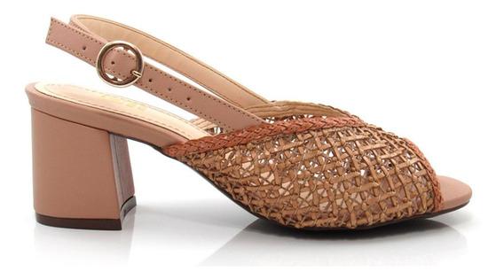 Sandália Feminina Salto Grosso Olfer Shoes 50040-04 Trama