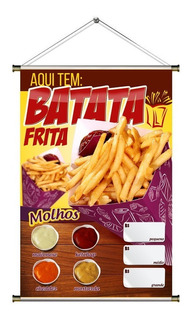 Banner De Batata Frita No Cone Com Molhos - 60x90cm