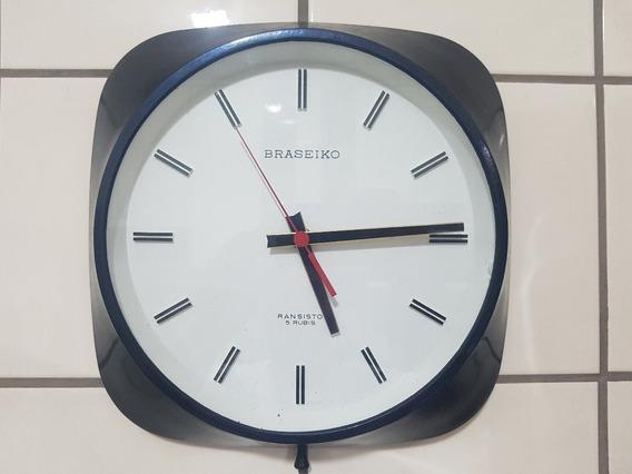 Relógio De Parede Braseiko A Pilha Anos 70/80- Funcionando
