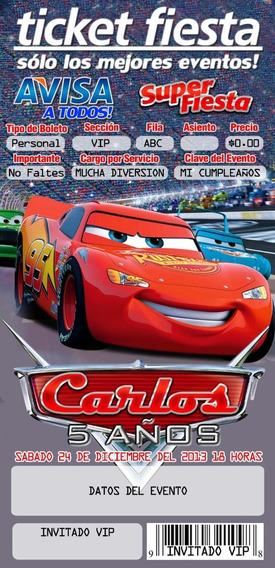 Invitación Tipo Ticketmaster Cars