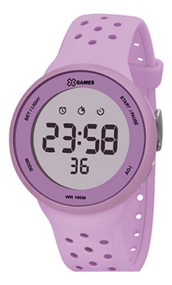Relógio Lilás Feminino X-games Digital Pulseira De Silicone