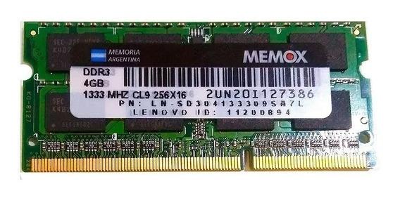 Memoria Ram Sodimm Memox 1.5v Ddr3 4gb 1333 Mhz Notebook