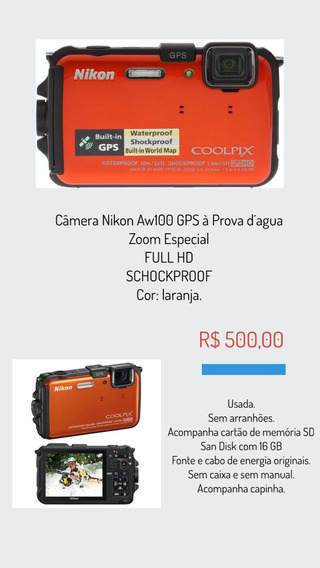 Câmera Nikon Aw100 À Prova Dágua