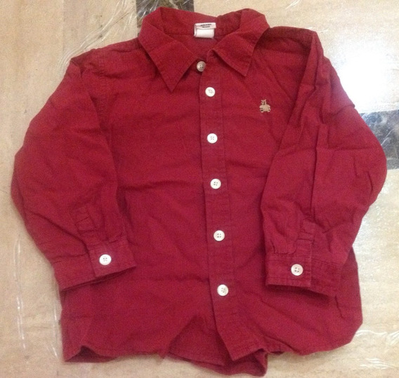 Camisa Manga Larga Color Vino Niño Talla 3 Gap