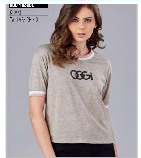 Playera Oggi Top Mujer Color Khaki 483061 Oggi 2-19 D