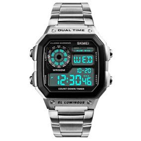 Relógio Masculino Aço Inox Led Digital Alarme Calendário