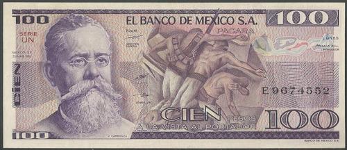 Imagen 1 de 2 de Mexico 100 Pesos 55 Marzo 1982 Serie Un P74c