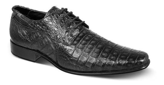 Sapato Exótico Masculino Couro Jacaré Preto