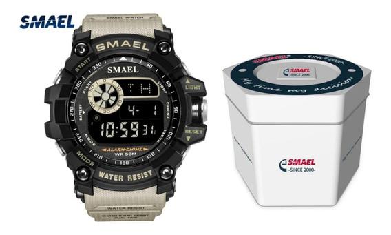 Relógio Smael 8010 Militar Tático Com Caixa Lata Original
