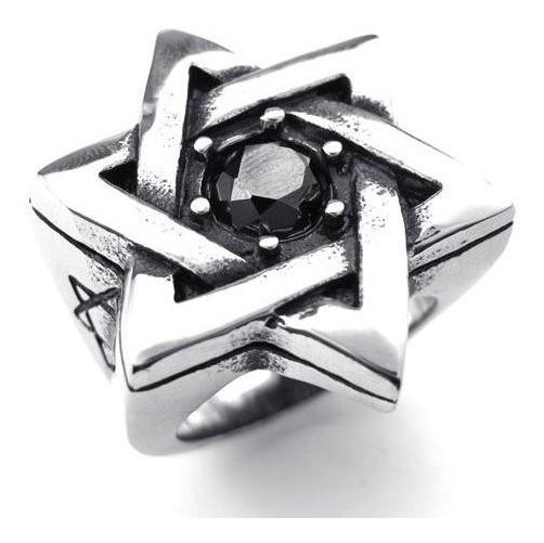 Anel Estrela De Davi Hexagonal Aço 316l Aro 34 Judaico