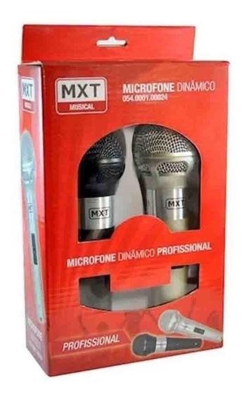 Microfone Mxt M-201 Par Preto E Prata Plástico Com Fio 5mt