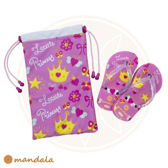 Kit Chinelo Mandala Kids Little Princess + Mandala Bag