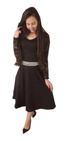 Vestido Rodado Cinto Com Pérola Moda Evangélica Nr125