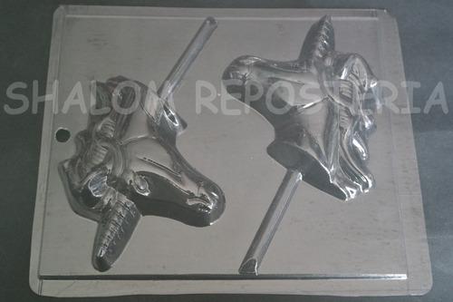 Imagen 1 de 4 de * Molde Paletas De Chocolate 2 Caras Unicornio Perfil Gdes