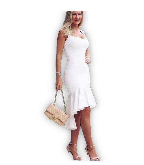 Vestido Midi Babado Festa Formatura Casamento Civil P M G