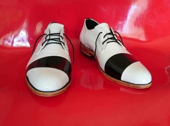 Zapatos De Hombres De Vestir Charol Cuero Blanco Y Negro
