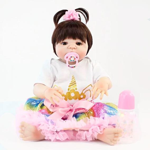 Bebê Reborn Boneca Grande Silicone+brincos+roupa Unicórnio