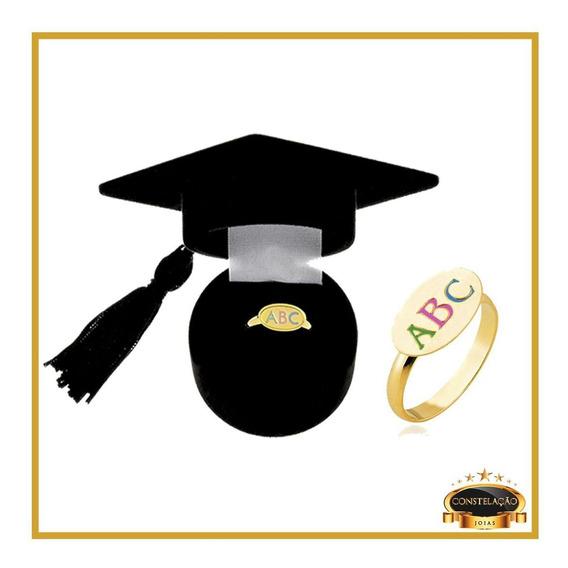 Anel Infantil Folh A Ouro Abc Em Resina Com Cx P Presente 12