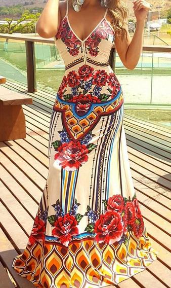 Vestido Longo Estampado Tailandia Perfect Way Tam M