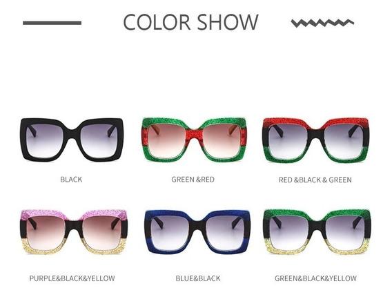 Óculos De Sol Feminino Quadrado Lançamento Púrpura Colorido