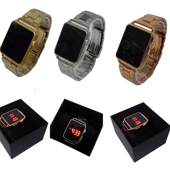 Kit 3 Relógios Led Digital Touch Moda Verão 2020 + Caixa
