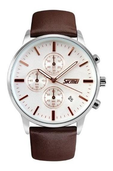 Relógio Skmei 9103 Masculino Social Mostrador Branco Belo